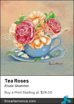 Tea Roses by Enzie Shahmiri - Painting - Oil On Canvas