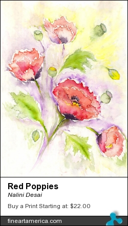 Red Poppies by Nalini Desai - Painting - Water Colours