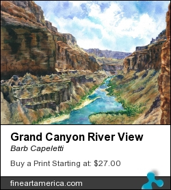 Grand Canyon River View by Barb Capeletti - Painting - Watercolor