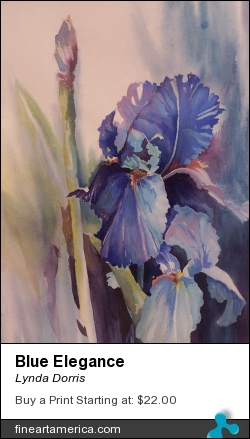 Blue Elegance by Lynda Dorris - Painting - Watercolor