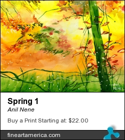 Spring 1 by Anil Nene - Painting - Water Color On Paper