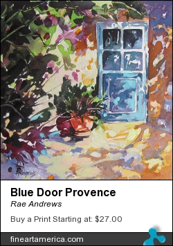 Blue Door Provence by Rae Andrews - Painting - Watercolor