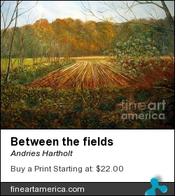 Between The Fields by Andries Hartholt - Painting - Oil On Canvas