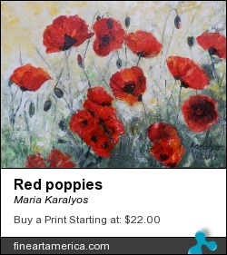 Red Poppies by Maria Karalyos - Painting - Oil On Canvas