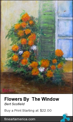 Flowers By The Window by Bert Scofield - Painting - Acrylic On Canvas Board