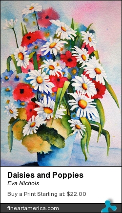 Daisies And Poppies by Eva Nichols - Painting - Watercolor