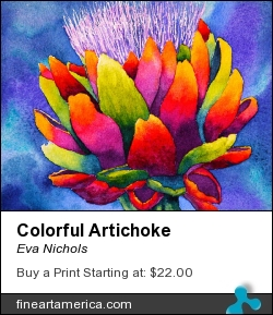 Colorful Artichoke by Eva Nichols - Painting - Watercolor