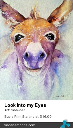 Look Into My Eyes by Arti Chauhan - Painting - Watercolour On Paper