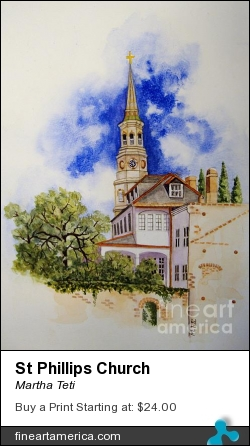 St Phillips Church by Martha Teti - Painting - Watercolor