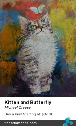 Kitten And Butterfly by Michael Creese - Painting - Oil On Canvas