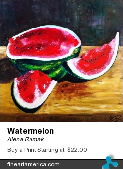 Watermelon by Alena Rumak - Painting - Oil On Canvas