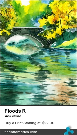 Floods R by Anil Nene - Painting - Water Color On Paper