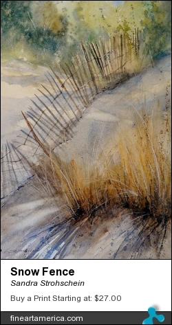 Snow Fence by Sandra Strohschein - Painting - Watercolor
