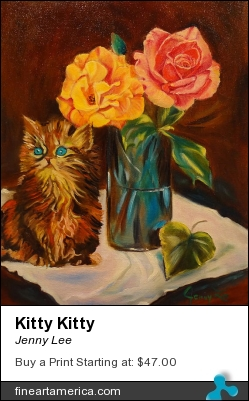 Kitty Kitty by Jenny Lee - Painting - Oil On Canvas