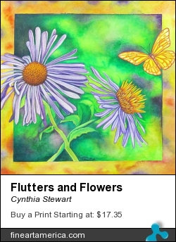 Flutters And Flowers by Cynthia Stewart - Painting - Watercolor