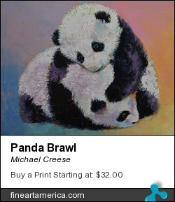 Panda Brawl by Michael Creese - Painting - Oil On Canvas