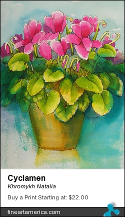 Cyclamen by Khromykh Natalia - Painting - Watercolor,paper,ink