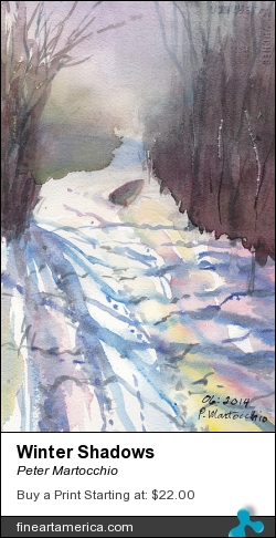 Winter Shadows by Peter Martocchio - Painting - Watercolor