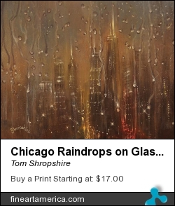 Chicago Raindrops On Glass by Tom Shropshire - Painting - Acrylic On Stretched Canvas
