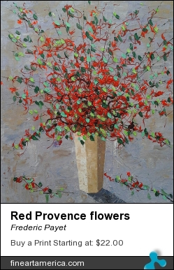 Red Provence Flowers by Frederic Payet - Painting - Acrylic Palette Knife