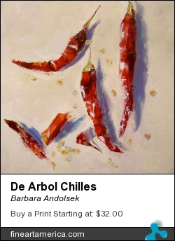 De Arbol Chilles by Barbara Andolsek - Painting - Oil On Board, Painted Sides, Ready To Hang