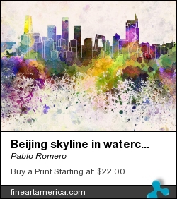 Beijing Skyline In Watercolor Background by Pablo Romero - Painting - Digital