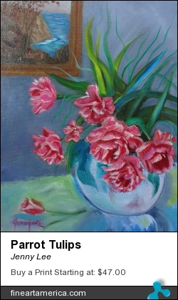 Parrot Tulips by Jenny Lee - Painting - Oil On Canvas
