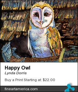 Happy Owl by Lynda Dorris - Painting - Water Color On Water-proof Ink Outlines