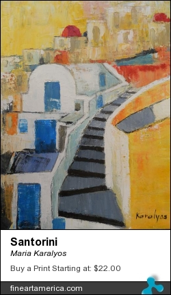 Santorini by Maria Karalyos - Painting - Oil On Canvas