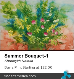 Summer Bouquet-1 by Khromykh Natalia - Painting - Watercolor,paper