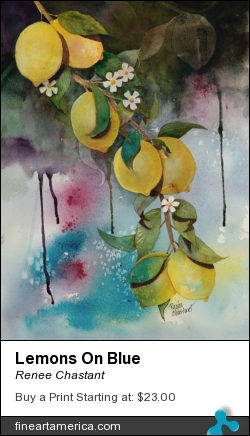 Lemons On Blue by Renee Chastant - Painting - Watercolor On Paper
