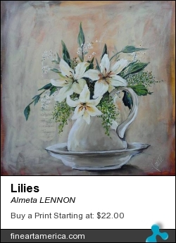 Lilies by Almeta LENNON - Painting - Acrylic On Canvas