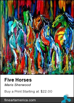 Five Horses by Maris Sherwood - Painting - Oil On Board W/pallette Knife