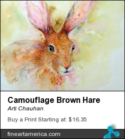 Camouflage Brown Hare by Arti Chauhan - Painting - Watercolour On Paper