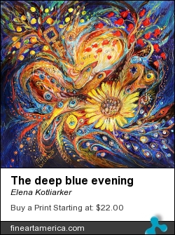 The Deep Blue Evening by Elena Kotliarker - Painting - Acrylic On Textured Canvas