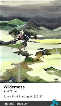 Wilderness by Anil Nene - Painting - Water Color On Paper