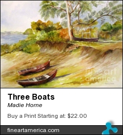 Three Boats by Madie Horne - Painting - Watercolors