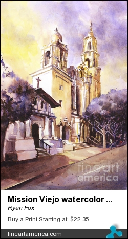 Mission Viejo Watercolor Painting by Ryan Fox - Painting - Watercolor