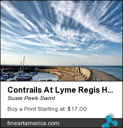 Contrails At Lyme Regis Harbour by Susie Peek-Swint - Photograph