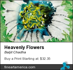 Heavenly Flowers by Baljit Chadha - Painting - Mix Media On Paper