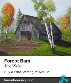 Forest Barn by Sheri Keith - Painting - Acrylic On Canvas