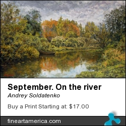 September. On The River by Andrey Soldatenko - Painting - Painting Oil On Canvas