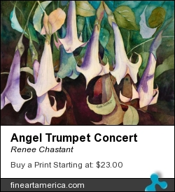 Angel Trumpet Concert by Renee Chastant - Painting - Watercolor On Paper