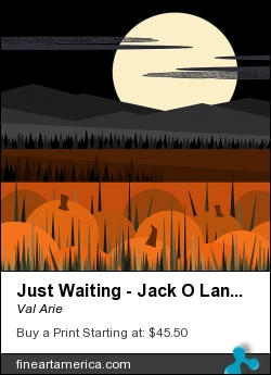 Just Waiting - Jack O Lanterns And Pumpkin Pie by Val Arie - Painting - Digital Paint / Painting / Val Arie Original Art