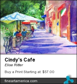 Cindy's Cafe by Elise Ritter - Painting - Watercolor