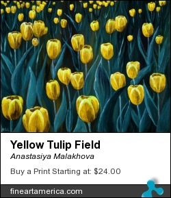 Yellow Tulip Field by Anastasiya Malakhova - acrylic on canvas, digitally altered