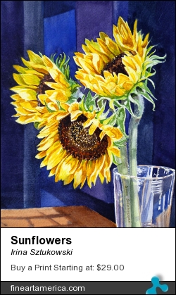 Sunflowers by Irina Sztukowski - Painting - Watercolor On Paper
