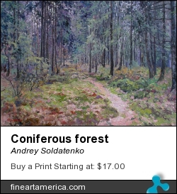 Coniferous Forest by Andrey Soldatenko - Painting - Oil On Canvas