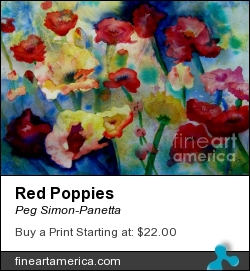Red Poppies by Peg Simon-Panetta - Painting - Watercolor