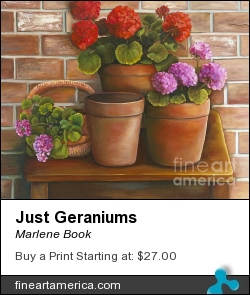 Just Geraniums by Marlene Book - Painting - Oil On Canvas